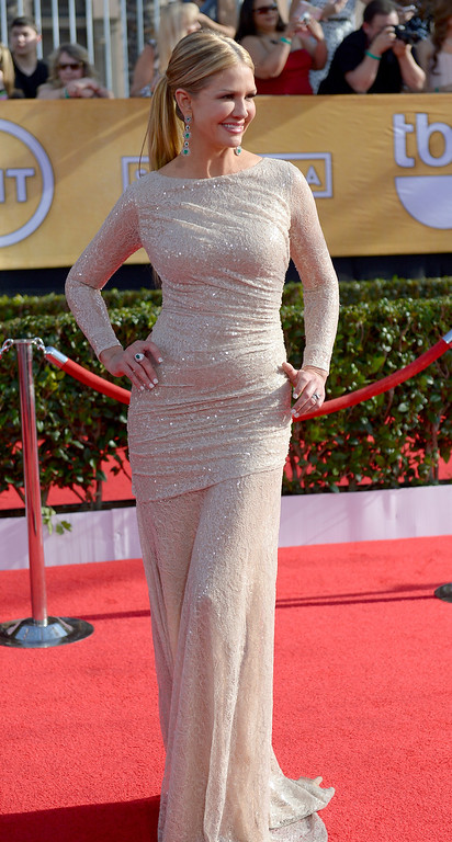 . Nancy O\'Dell arrives at the 20th Annual Screen Actors Guild Awards  at the Shrine Auditorium in Los Angeles, California on Saturday January 18, 2014 (Photo by Michael Owen Baker / Los Angeles Daily News)