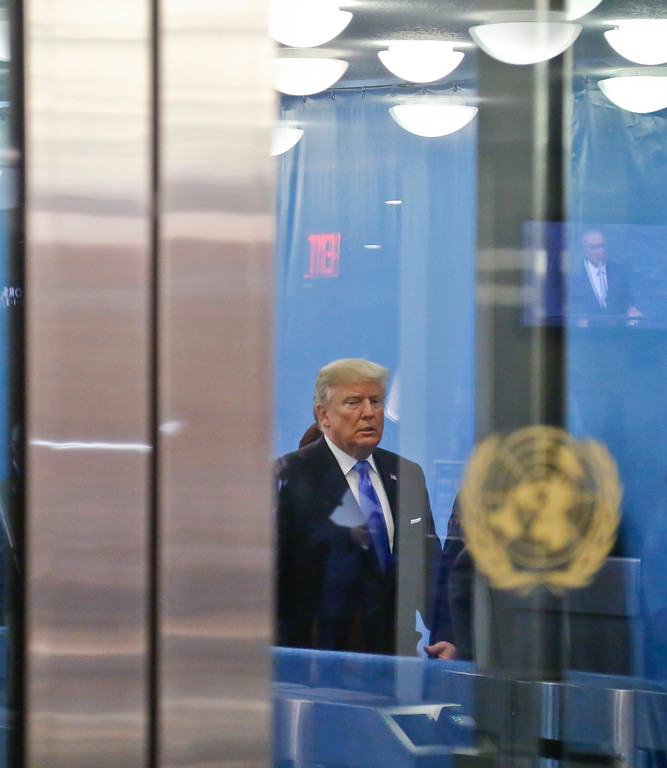 . U.S. President Donald Trump arrives for the meeting of the United Nations General Assembly, Tuesday Sept. 19, 2017 at U.N. headquarters. (AP Photo/Bebeto Matthews)