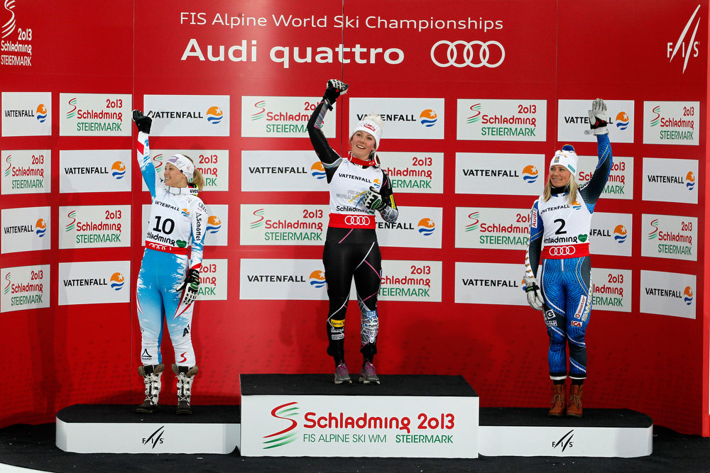 Description of . Mikaela Shiffrin of the USA wins the gold medal, Michaela Kirchgasser of Austria wins the silver medal, Frida Hansdotter of Sweden wins the bronze medal during the Audi FIS Alpine Ski World Championships Women's Slalom on February 16, 2013 in Schladming, Austria. (Photo by Christophe Pallot/Agence Zoom/Getty Images)