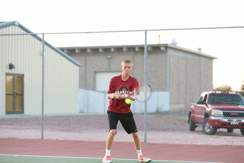 Scottsbluff's number two single Sean Mercer-Smith in a match with Gering on Tuesday in Gering.