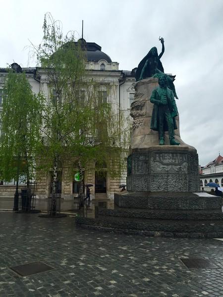 Statue of Ljubljana's beloved poet Preseren with a muse above him