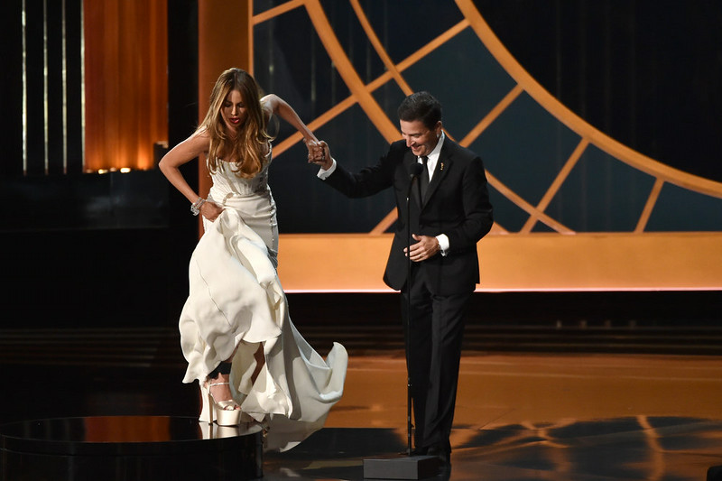 . Actress Sofia Vergara (L) and Television Academy CEO Bruce Rosenblum speak onstage at the 66th Annual Primetime Emmy Awards held at Nokia Theatre L.A. Live on August 25, 2014 in Los Angeles, California.  (Photo by Kevin Winter/Getty Images)
