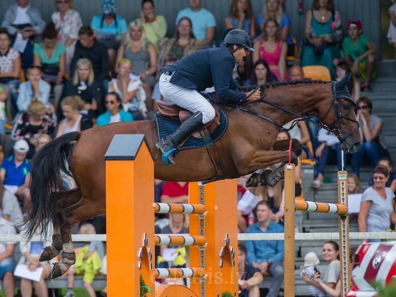 Nerijus SIPAILA (LTU) with the horse CALIENTE, World Cup competition, Grand Prix Riga, CSI2*-W, CSIYH1* - Riga 2016, Latvia