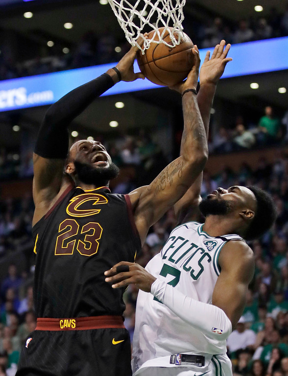 . Cleveland Cavaliers forward LeBron James (23) goes to the basket against Boston Celtics guard Jaylen Brown (7) during the second quarter of Game 5 of the NBA basketball Eastern Conference finals Wednesday, May 23, 2018, in Boston. (AP Photo/Charles Krupa)