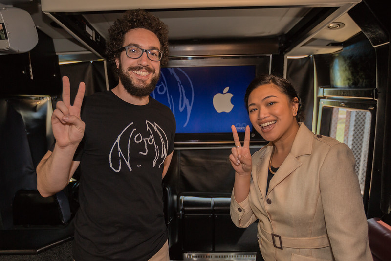 2017_04_18, Apple, bus, Chicago, IL, interior, peace signs, Roberto Clemente High School, Brenda Limos, Steven Meloney, tours and tents