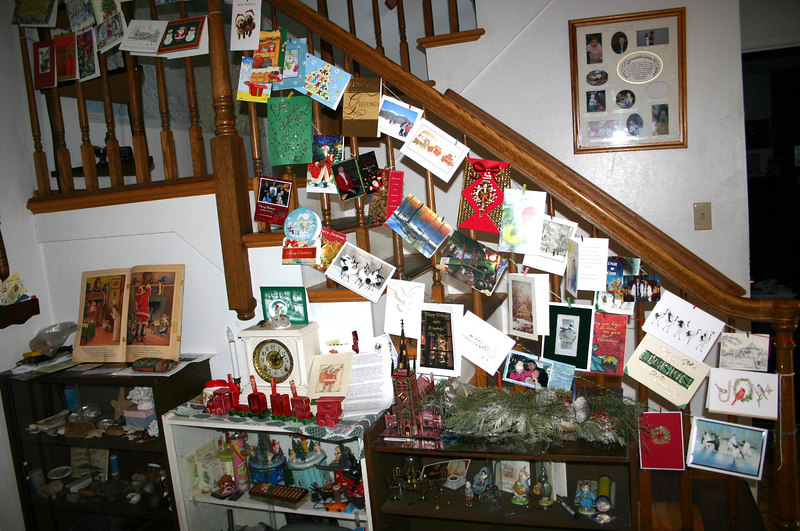 front hall with decorations and christmas cards