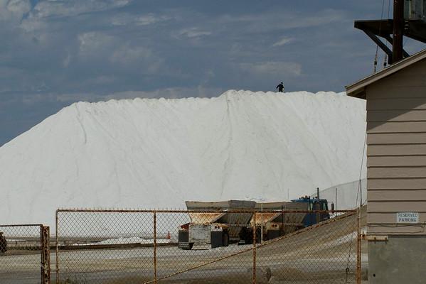 Saltworks trespasser on stockpile 8-20-2014
