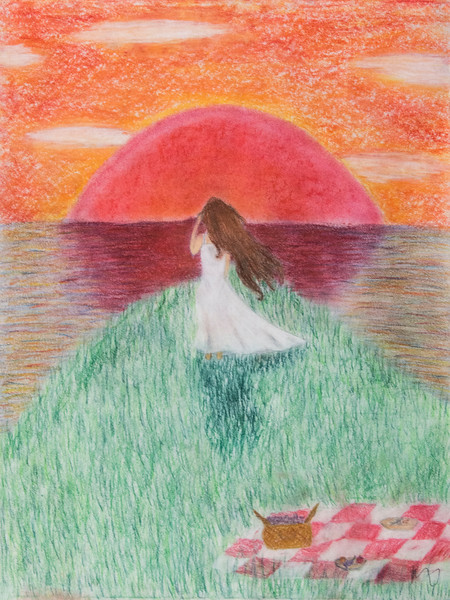"7 ""On the Edge,"" oil pastel drawing, 24"" x 18"".jpg"