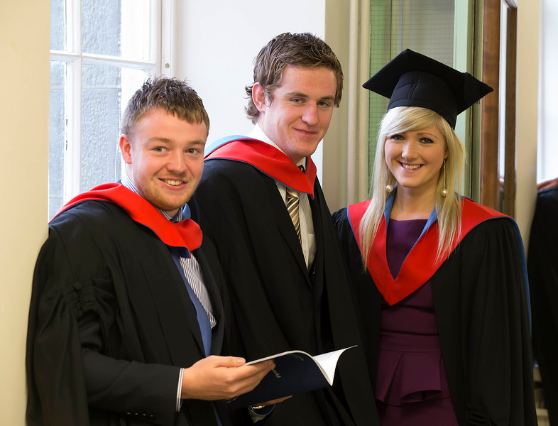 Pictured are Colm Barry, Limerick, Eamon Butler, Carlow and Sally Forrestal, Wexford who graduated Higher Cert in Science in Agricultural Science . Picture: Patrick Browne