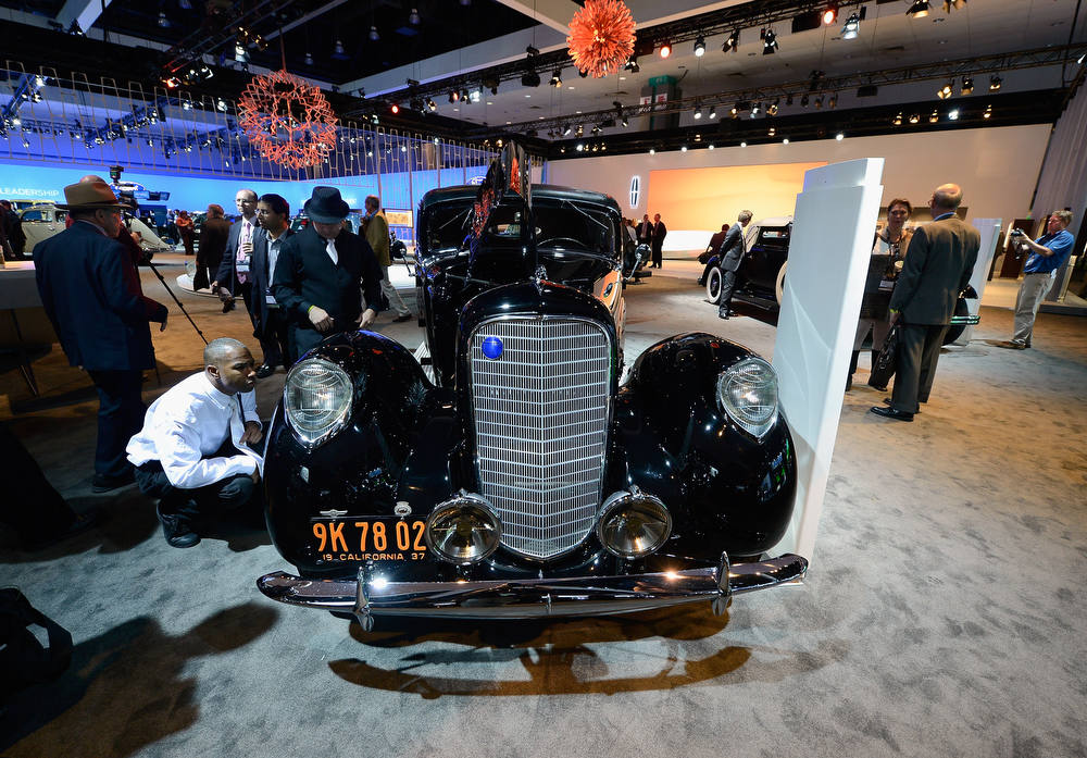 . LOS ANGELES, CA - NOVEMBER 28:  A one-of-a-kind 1937 Lincoln Derham Sport Sedan is shown on display as part of Lincoln\'s Heritage On Display during the Los Angeles Auto Show media day on November 28, 2012 in Los Angeles, California. The LA Auto Show opens to the public November 30 and runs through December 9.  (Photo by Kevork Djansezian/Getty Images)