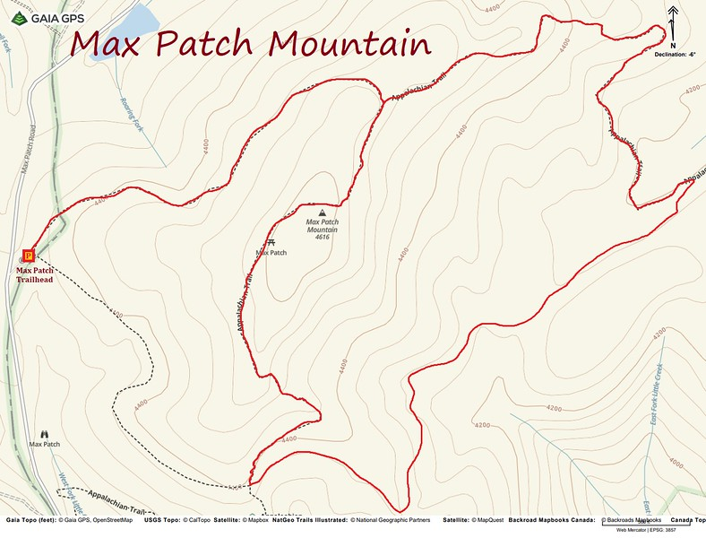 Max Patch Mountain Hike Route Map