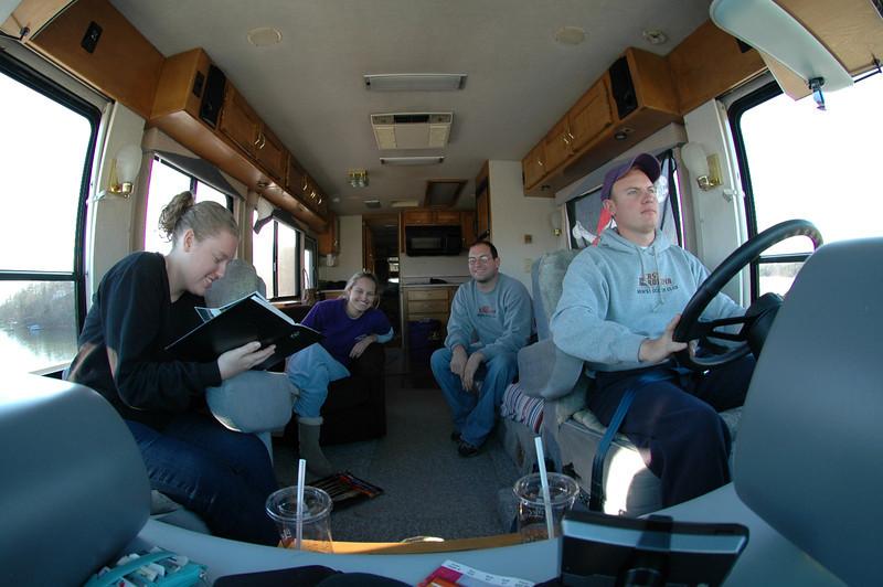 Lauren, Stephanie, Jon, JG riding in the RV home.