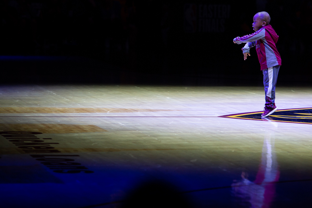 . Michael Johnson - The News-Herald 5 year-old Tavaris Jones dances with the Scream Team during halftime of game 3 of the Eastern Conference finals at the Q on May 19, 2018.