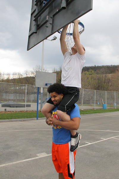 Fixing Basketball Net, Willing Skate Park, Tamaqua (4-26-2014)