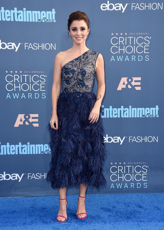 . Jamie-Lynn Sigler arrives at the 22nd annual Critics\' Choice Awards at the Barker Hangar on Sunday, Dec. 11, 2016, in Santa Monica, Calif. (Photo by Jordan Strauss/Invision/AP)