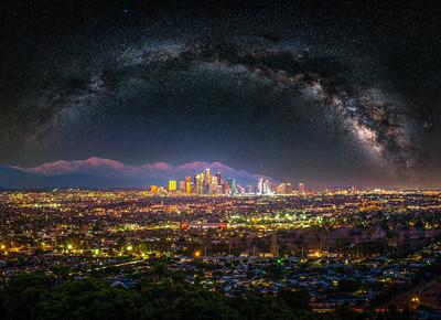 Universe of Angels: Los Angeles Winter Skyline & Milky Way Fuji GFX100