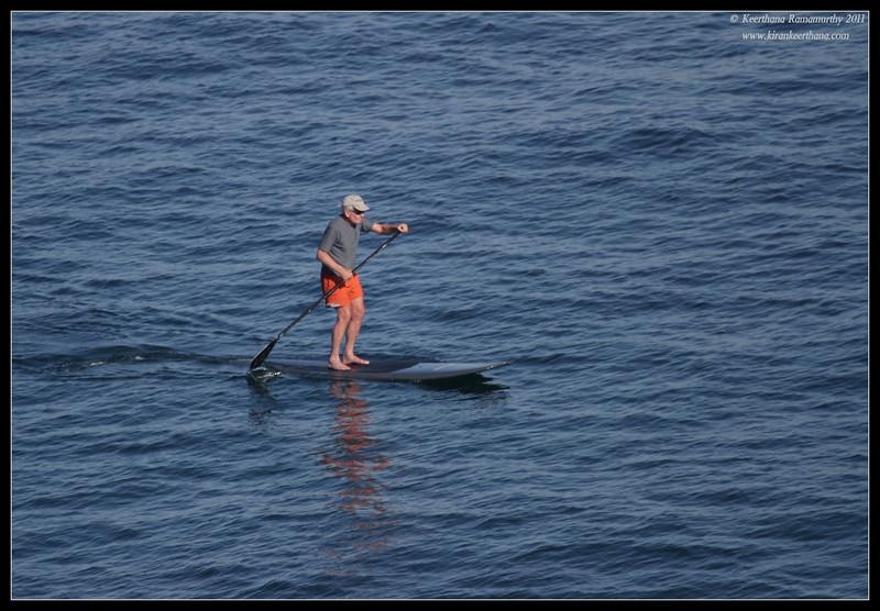 Random old man paddle boarding, La Jolla Cove, San Diego County, California, October 2011