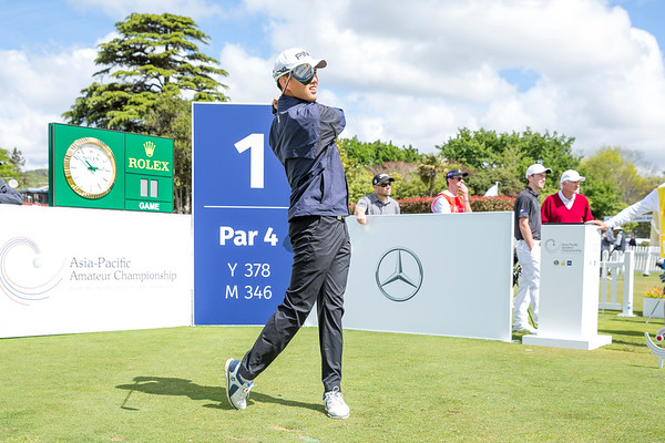 Joshua Ho from Singapore hitting off the 1st tee on Day 1 of competition in the Asia-Pacific Amateur Championship tournament 2017 held at Royal Wellington Golf Club, in Heretaunga, Upper Hutt, New Zealand from 26 - 29 October 2017. Copyright John Mathews 2017.   www.megasportmedia.co.nz