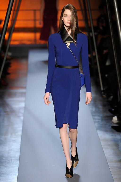 . PARIS, FRANCE - FEBRUARY 28:  A model walks the runway during the Roland Mouret show as part of Paris Fashion Week Womenswear Fall/Winter 2014-2015 on February 28, 2014 in Paris, France.  (Photo by Kristy Sparow/Getty Images)
