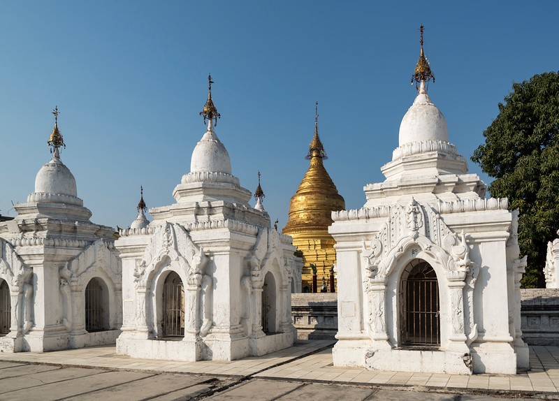 White and golden stupas, Kuthodaw Pagoda, Mandalay, Burma (Myanmar)