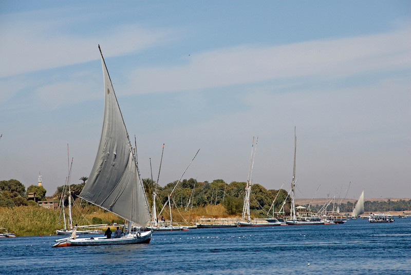 Feluccas sailing over Nile River- Aswan, Egypt