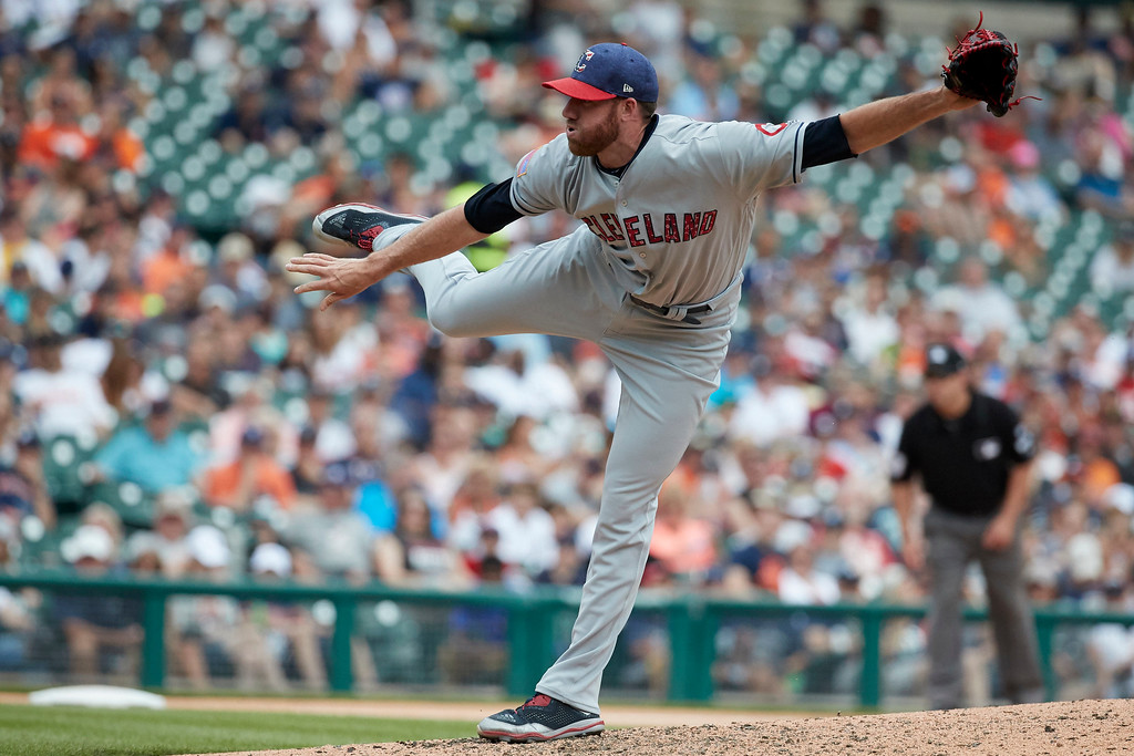. Cleveland Indians relief pitcher Zach McAllister (34) pitches against the Detroit Tigers during the sixth inning in the first baseball game of a doubleheader in Detroit, Saturday, July 1, 2017. (AP Photo/Rick Osentoski)