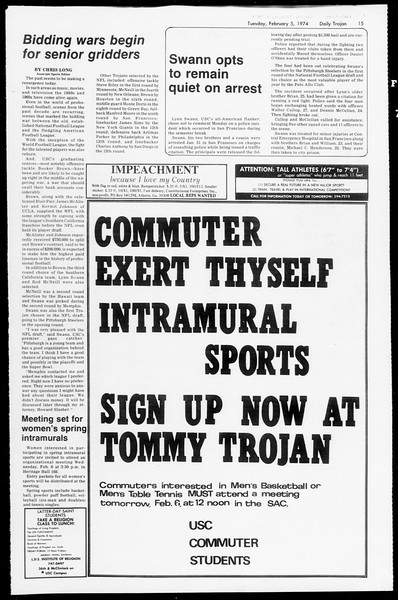 Daily Trojan, Vol. 66, No. 65, February 05, 1974