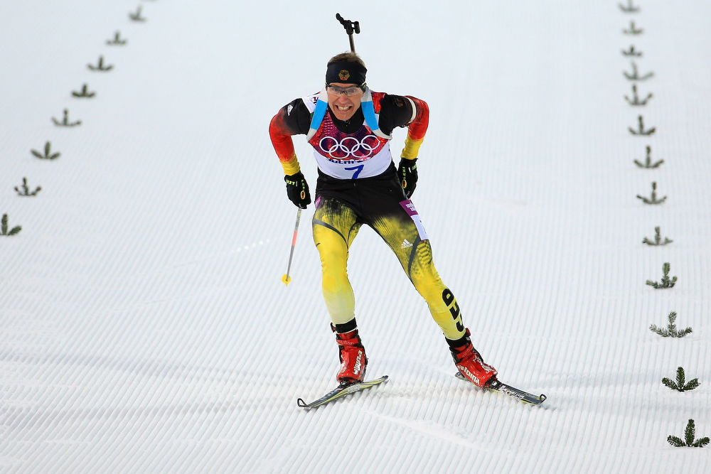 . Andreas Birnbacher of Germany competes in the Men\'s Individual 20 km during day six of the Sochi 2014 Winter Olympics at Laura Cross-country Ski & Biathlon Center on February 13, 2014 in Sochi, Russia.  (Photo by Richard Heathcote/Getty Images)