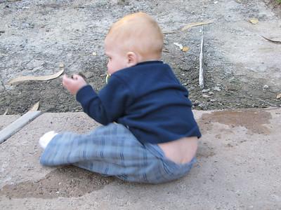 Sam gets dirty, October 3, 2009