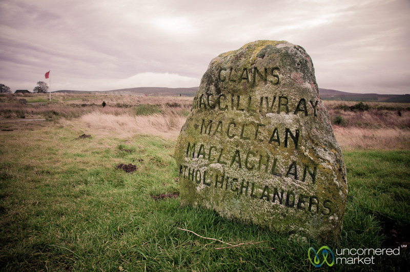 Simple Tombstone at Culloden Battlefield in the Highlands of Scotland