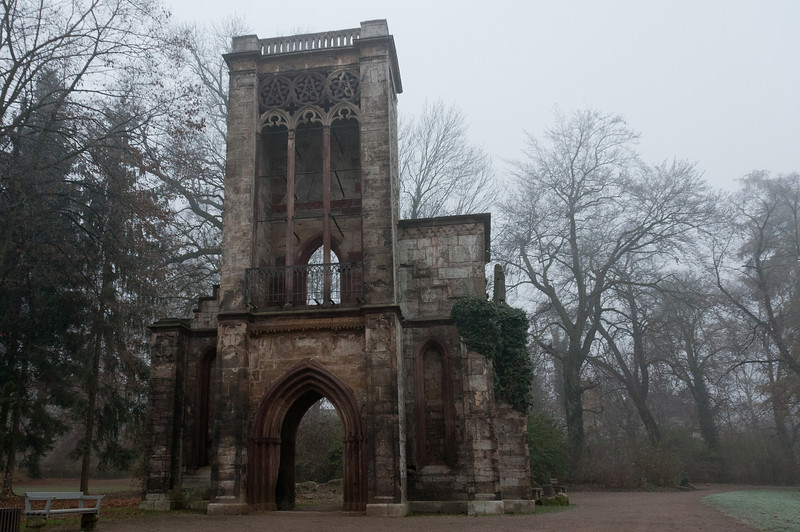 Ruins of the Templar tower house in Weimar, Germany