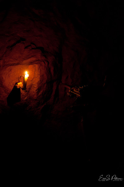 In the old days, they would only have candles to light the mine.