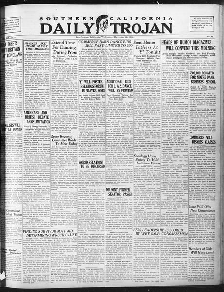 Daily Trojan, Vol. 22, No. 43, November 12, 1930