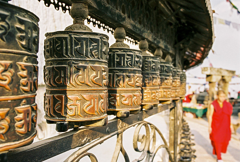 Prayer wheels around the Swayambhunath Stupa