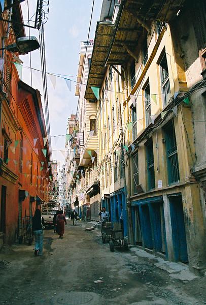 The narrow streets of Thamel, Kathmandu