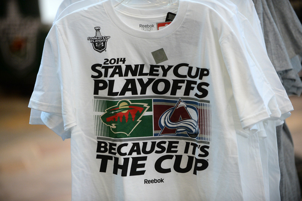 . Stanley Cup Playoff merchandise was on sale at the Xcel Energy Center Monday night.  (Photo by Karl Gehring/The Denver Post)