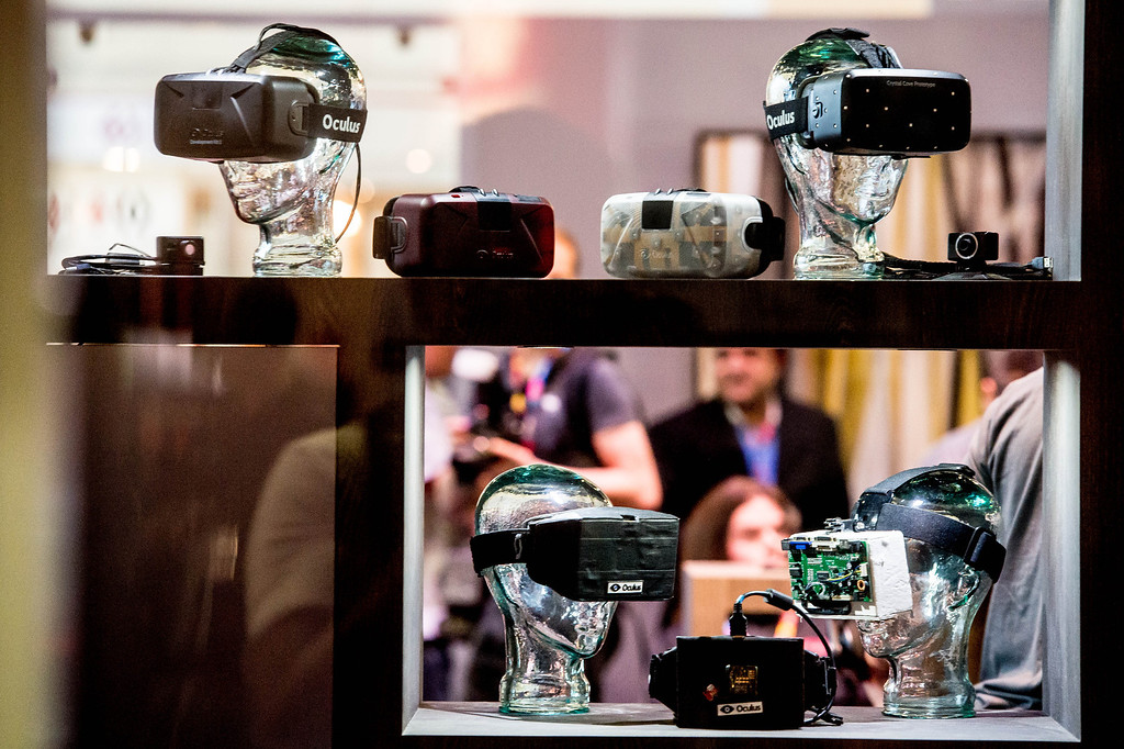 . Oculus Rift virtual reality headsets are on display at the Electronic Entertainment Expo in Los Angeles on Tuesday, June 10, 2014. (Photo by Watchara Phomicinda)