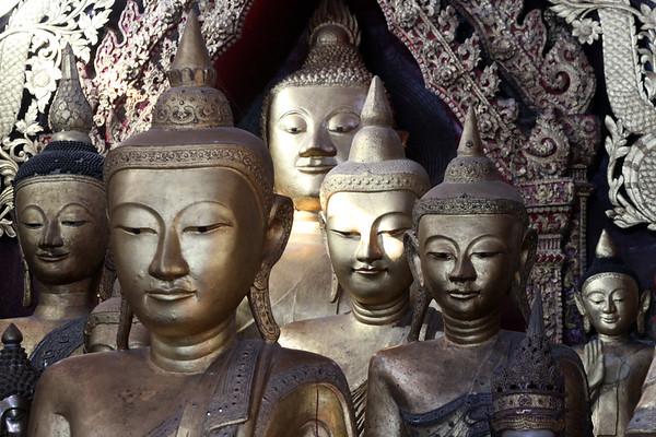 Buddha statues in Wat Jong Kham monastery, Kengtung, Myanmar