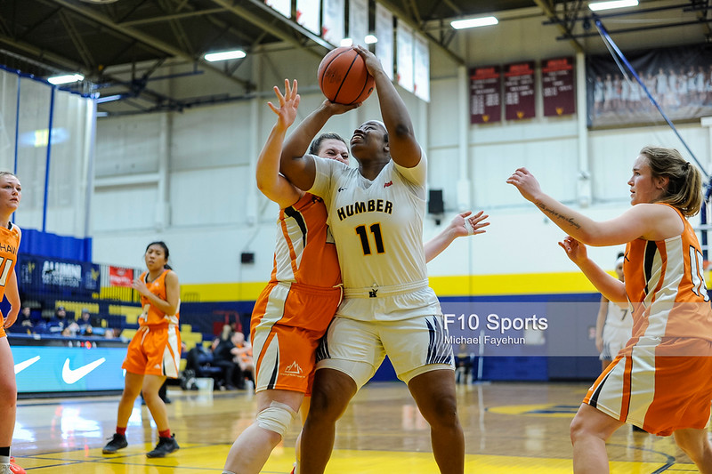 TORONTO, CANADA - Feb 13: during OCCA Basketball Matchup between Humber Hawks vs Mohawk Mountaineers at Humber Hawks Athletic Center. Photo: Michael Fayehun/F10 Sports Photography