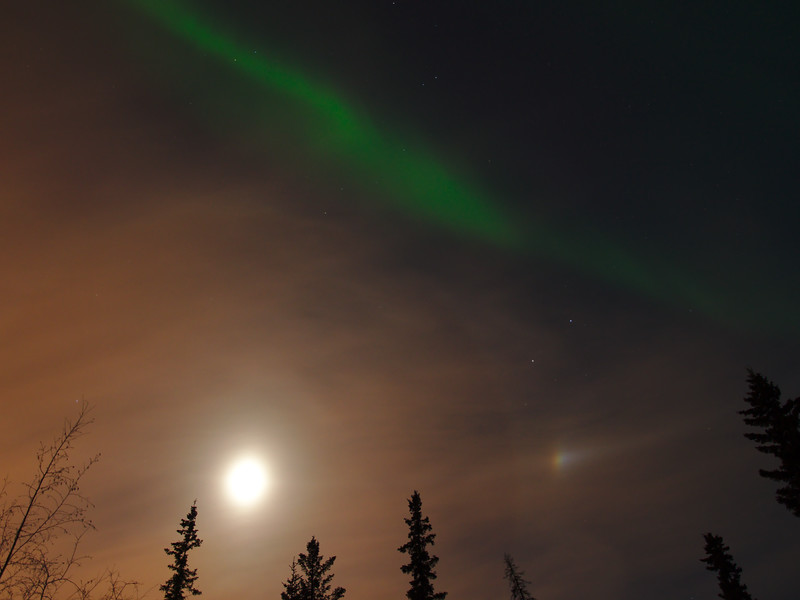 Moon, moon dog, and aurora