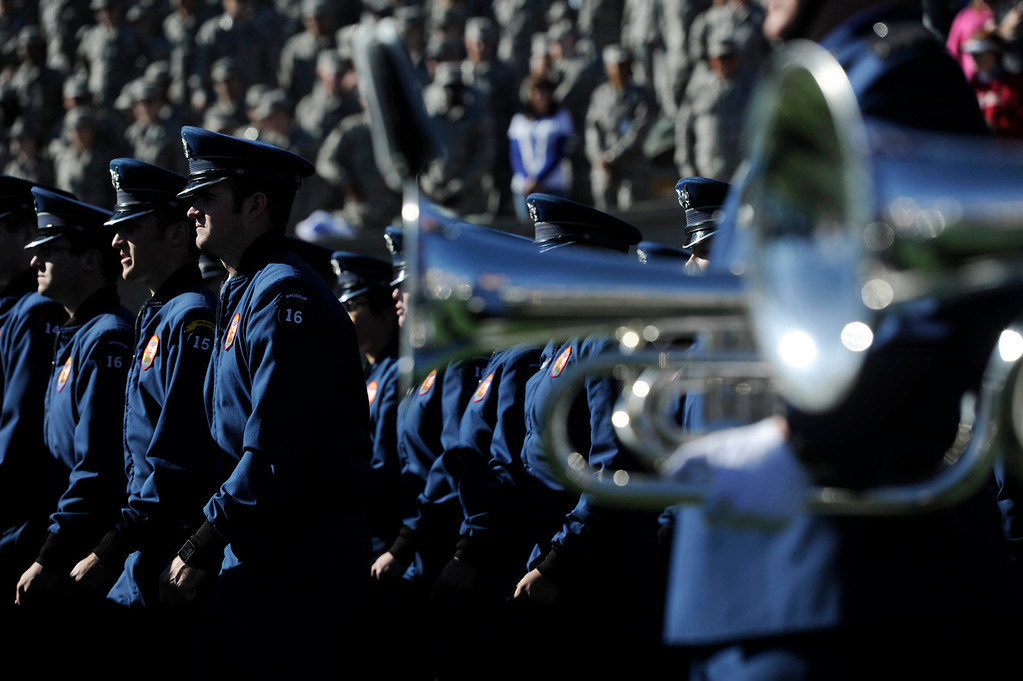 . COLORADO SPRINGS, CO - OCTOBER 26: Air Force cadets take the field before entering the stands before the Falcons battled the Notre Dame Fighting Irish at Falcon Stadium, Saturday afternoon, October 26, 2013. (Photo By Andy Cross/The Denver Post)
