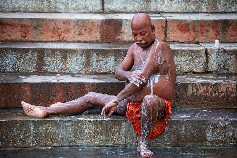 Bathing beside the Ganges, Varanasi, India