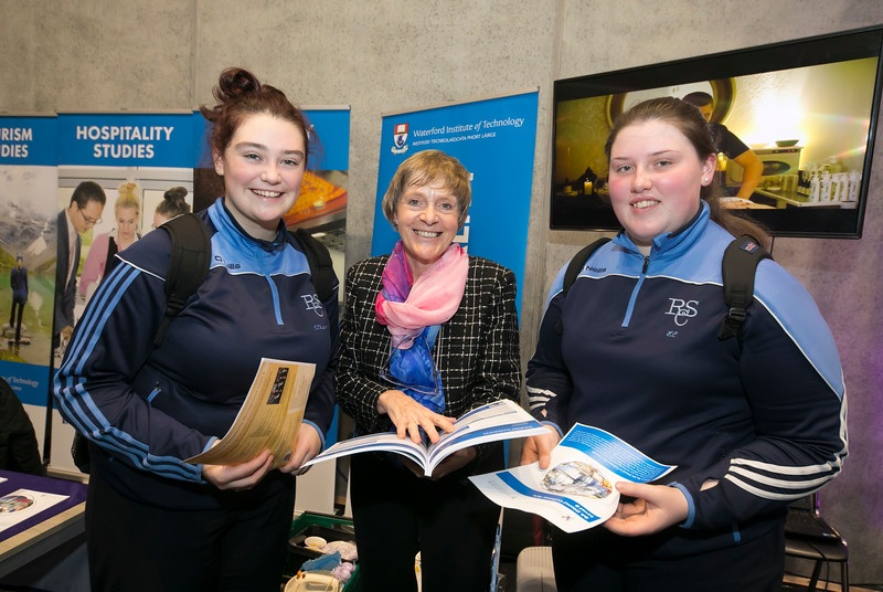 FREE TO USE IMAGE. Pictured at WIT's Autumn Open Days in the WIT Arena are Ann Tubritt WIT Hospitality with Claire Chapman and Emily Cahill from Ramsgrange School. Picture: Patrick Browne  WIT's Autumn Open Days in the WIT Arena were on Friday, 23 November and Saturday, 24 November 2018. The Schools Open Day on Friday attracted thousands of secondary school students.  The event focused on undergraduate entry for September 2019 but also showcases the opportunities for postgraduate learning and research and flexible study through our School of Lifelong Learning & Education.  The institute has 70 CAO courses across a range of discipines including,business,engineering and architecture, sports and nursing, law, social sciences, arts and psychology, the creative & performing arts, languages, tourism and hospitality, science and computing.   WIT's Autumn Open Days included presentations on all CAO courses, including new courses for 2019, as well as the opportunity to experience what it would be like to study on those courses and talk to lecturers directly.