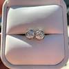 1.70ctw Old European Cut Diamond Clover Stud Earrings, GIA H-I SI 13