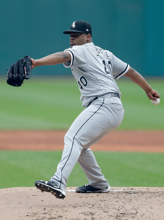 . Chicago White Sox starting pitcher Reynaldo Lopez delivers in the first inning of a baseball game against the Cleveland Indians, Wednesday, June 20, 2018, in Cleveland. (AP Photo/Tony Dejak)