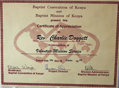 Certificates from '99 Mission