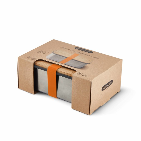 Stainless Steel Sandwich Box Large orange packaging Black Blum