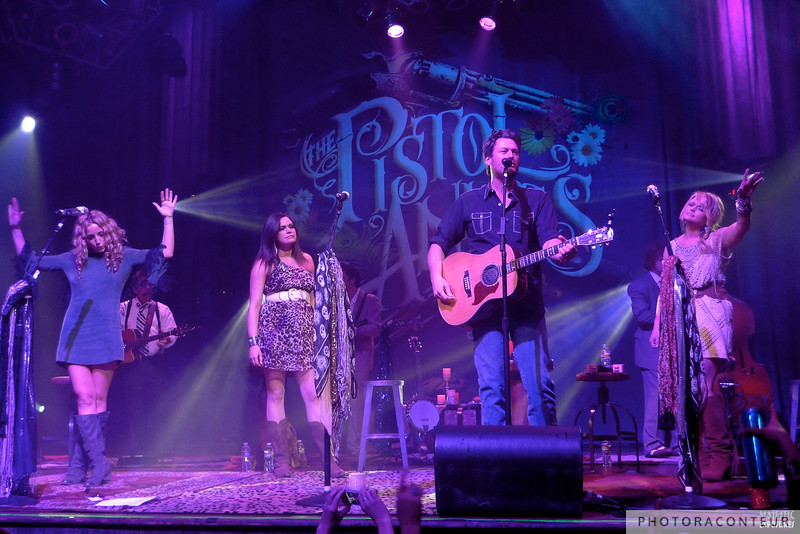"Blake Shelton - aka ""Pistol Andy"" - joined the Pistol Annies for a song that he cowrote with the trio called ""Family Feud""  (Photo by Benjamin Padgett)"