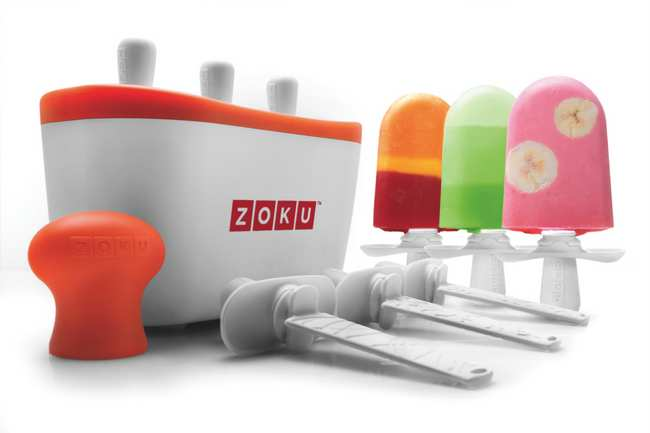 . Making popsicles is a fun family activity, and you can customize the frozen treats according to your taste with ingredients like yogurt or natural fruit juices. And did we mention these popsicles freeze in less than 10 minutes? Zoko Quick Pop, 6 reusable plastic pop sticks and mold kit, ($49.95) at Williams Sonoma, Sur la Table and zokuhome.com.