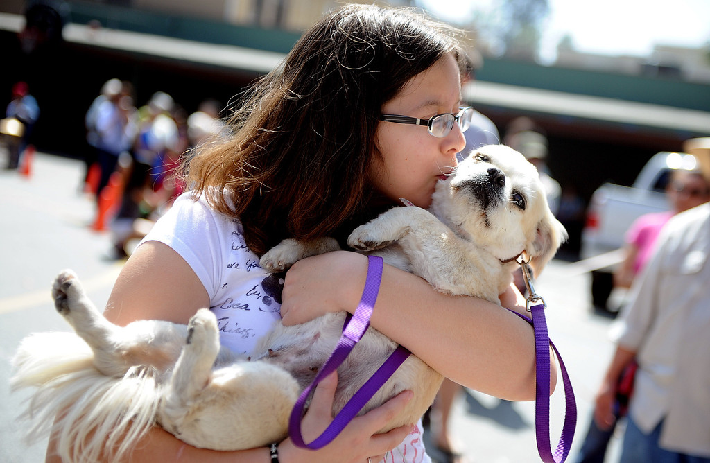 """. Fifteen year-old Marissa Camerano kisses her dog \"""" Chica\"""" during the traditional Blessing of the Animals at St Andrew Church School on Saturday, March 30, 2013 in Pasadena, Calif.  (Keith Birmingham Pasadena Star-News)"""